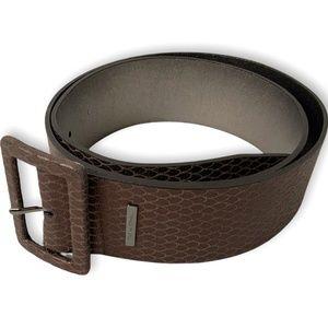 """CALVIN KLEIN Genuine Leather 2"""" Wide Bronze Belt"""